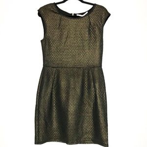 Collective Concept Dress Metallic Black Print Sz M